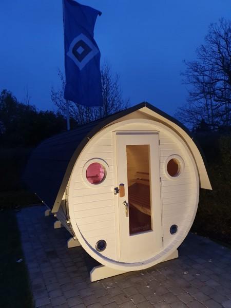Fass-Sauna, Bausatz, 4000 mm Länge, geschl. Vorraum, elektr. Ofen