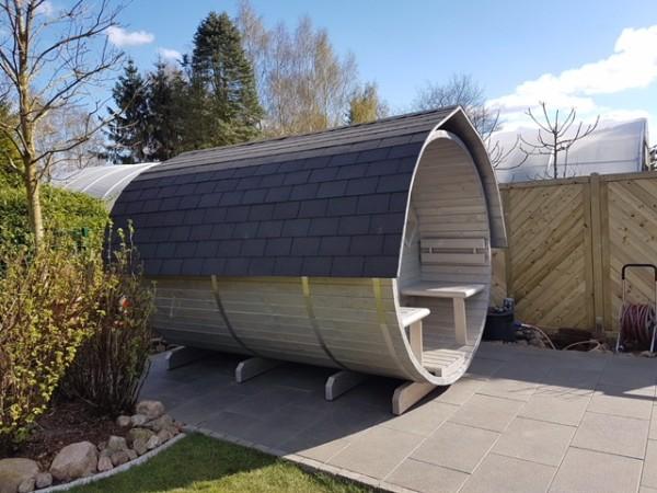 Fasssauna 3000mm Saunafass holzbefeuert und offenem Vorraum