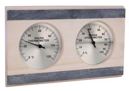 Thermo-Hygrometer im Espenholzrahmen mit Speckstein