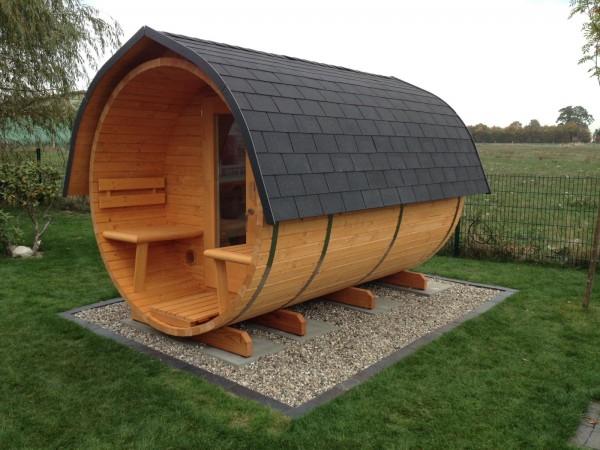Fass-Sauna, Bausatz, 4000 mm Länge, offener Vorraum, holzbefeuert