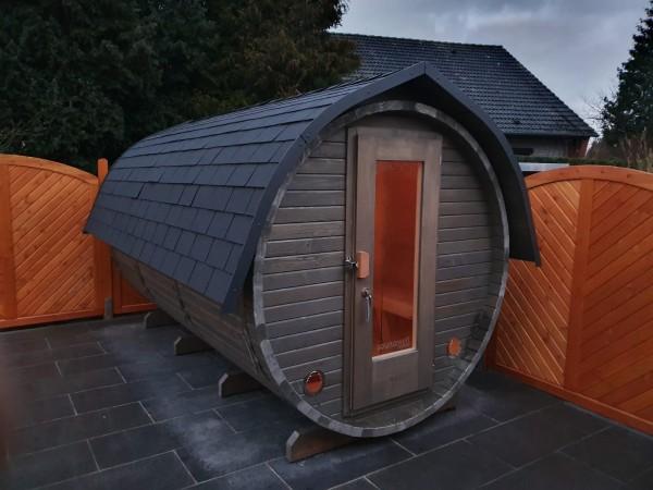 Fass-Sauna, Bausatz 4000 mm Länge, geschl. Vorraum, holzbefeuert