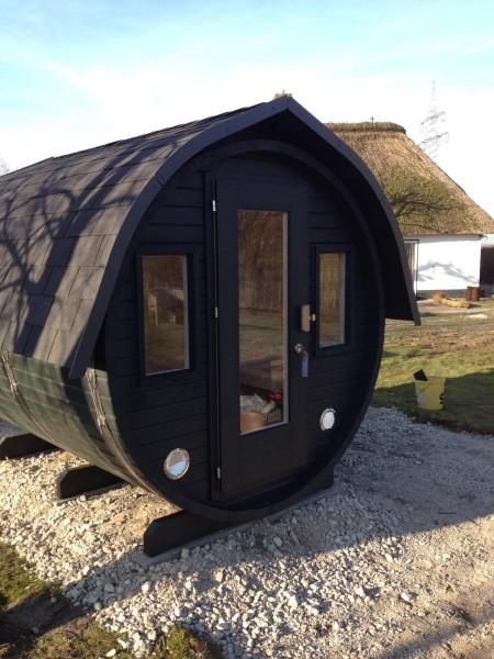 Fass-Sauna, Bausatz, 3500 mm Länge, geschl. Vorraum, holzbefeuert