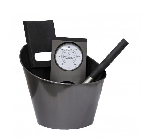 Sauna Zubehör Set schwarz Harvia BLACK STEEL SAUNA-ZUBEHÖRSET Kübel Kelle Thermometer