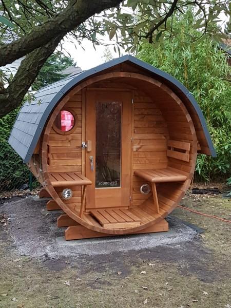 Fass-Sauna, Bausatz, 3500 mm Länge, offener Vorraum, elektr. Ofen